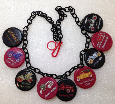 SOLD - Vintage style charms necklace, made with vintage 1967 early plastic Israeli cars' charms - Talma's Work&Shop  - 1