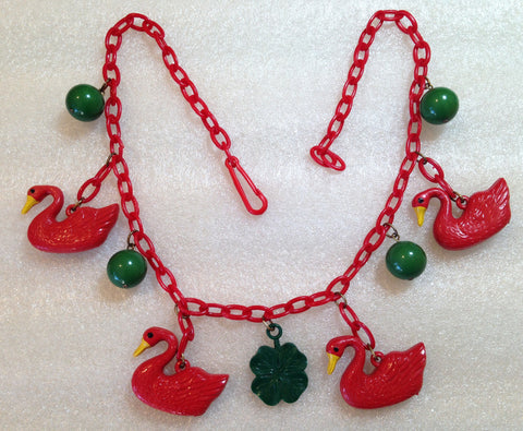 Vintage 1940's celluloid early plastic red ducks and forest green balls necklace - bakelite era - Talma's Work&Shop  - 1