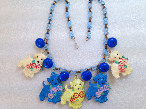 Vintage 1940's hand painted celluloid dogs & roses necklace - bakelite era - Talma's Work&Shop  - 1