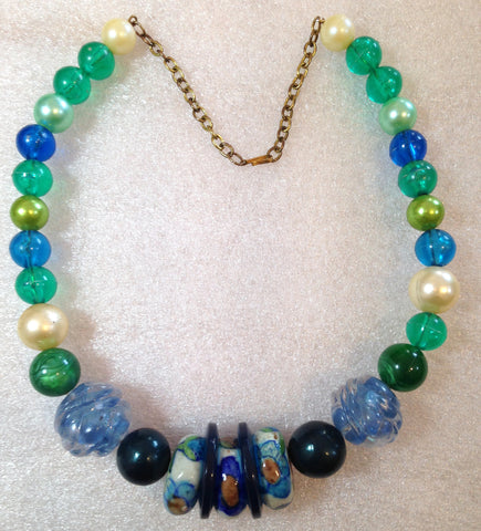 Vintage style early plastic colorful beads necklace #1 - Talma's Work&Shop  - 1