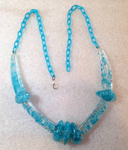 Vintage style early plastic turquoise huge beads necklace #4 - Talma's Work&Shop  - 1
