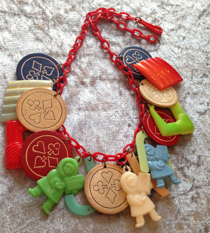 "Vintage style early plastic 1960's  ""Eskimo"" & charms necklace - Talma's Work&Shop  - 1"