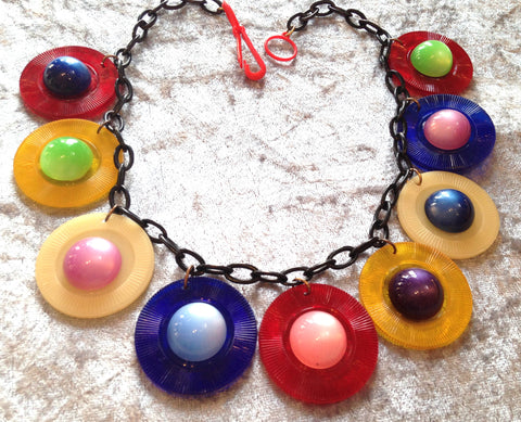 Vintage style early plastic semi transparent charms necklace - Talma's Work&Shop  - 1