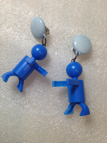 Vintage style funny plastic  clip-on earrings with little people figurines - Talma's Work&Shop  - 1