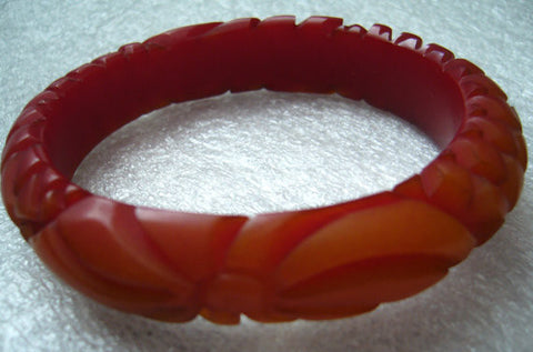 "Special offer: Vintage art deco red ""end of the day"" carved flower bakelite bangle bracelet - Talma's Work&Shop  - 1"