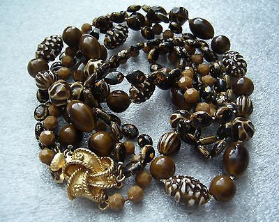Vintage 4 strand multi shape brownish 1950s plastic necklace - Talma's Work&Shop  - 1