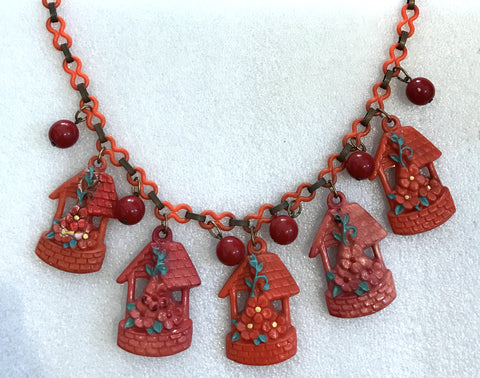 Vintage hand painted celluloid early plastic little houses red necklace - Talma's Work&Shop  - 1