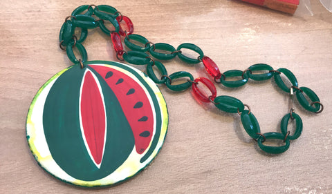 Vintage early plastic hand painted watermelon's slice pendant necklace - Talma's Work&Shop  - 1