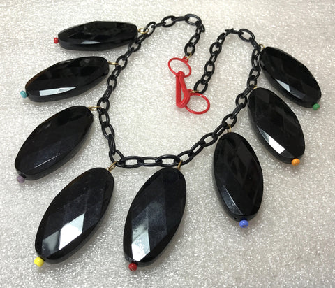 Vintage chunky early plastic & glass black dangles necklace