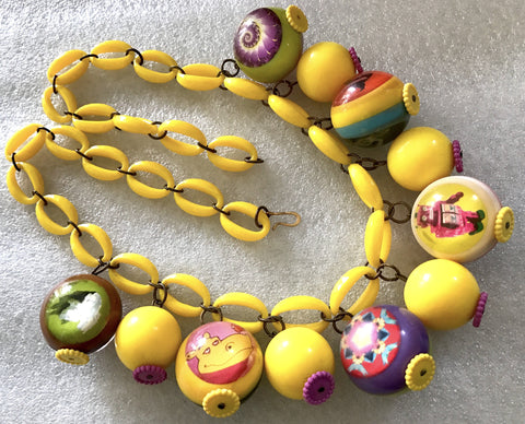 Vintage plastic yellow and more balls dangles necklace - Talma's Work&Shop  - 1