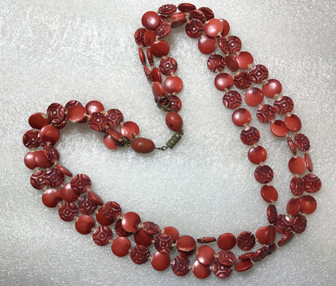 Vintage early plastic multi strands red carved necklace
