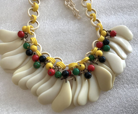 Vintage early plastic celluloid bakelite necklace - Miriam Haskell? - Talma's Work&Shop  - 1