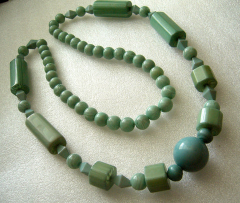 Vintage  early plastic chunky light blue necklace - Talma's Work&Shop  - 1