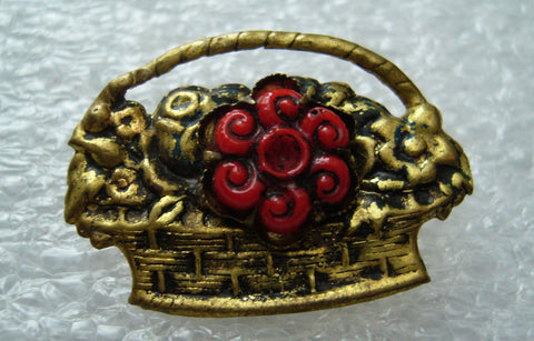 Vintage 1950's tin or copper flowers' basket pin brooch - Talma's Work&Shop  - 1