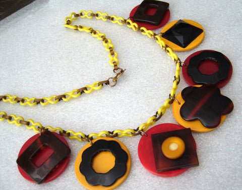 Vintage bakelite & celluloid art deco dangles necklace - bakelite era - Talma's Work&Shop  - 1