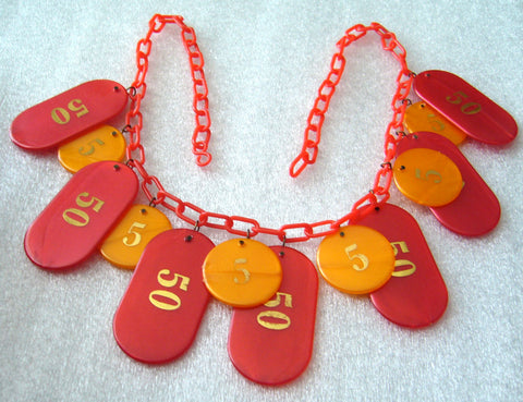 Vintage early plastic 1980's dangles necklace - gambling theme - Talma's Work&Shop  - 1