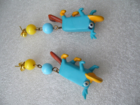 Vintage style funny plastic  piercing earrings with blue parrots - Talma's Work&Shop  - 1