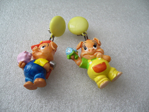 Vintage style funny plastic  clip-on earrings with piggies - Talma's Work&Shop  - 1