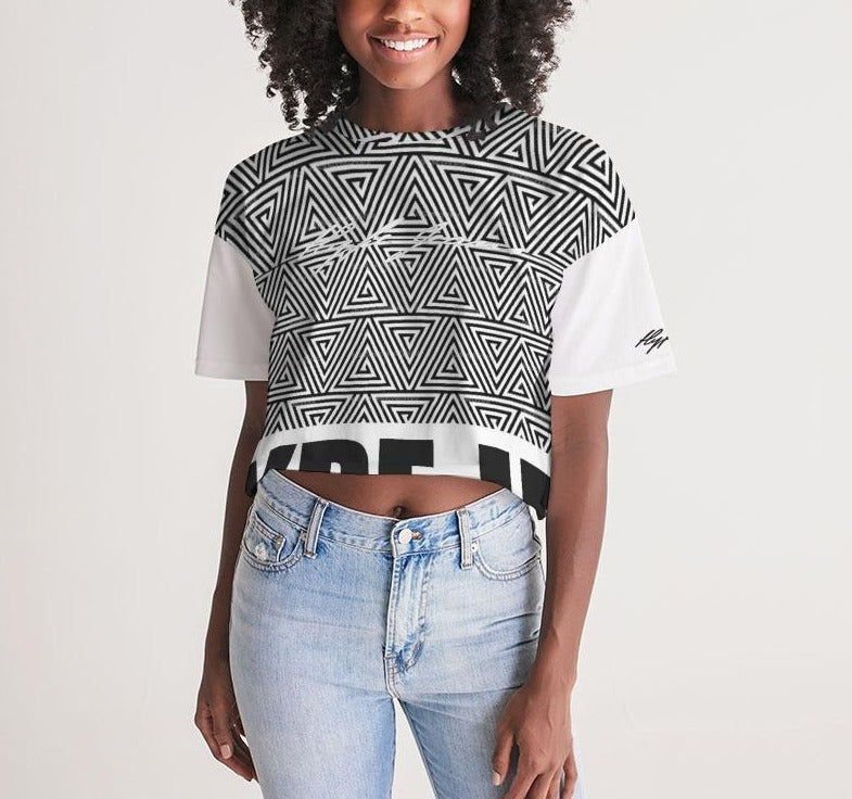 Hype Jeans mosaic (Black/white) Women's Lounge Cropped Tee