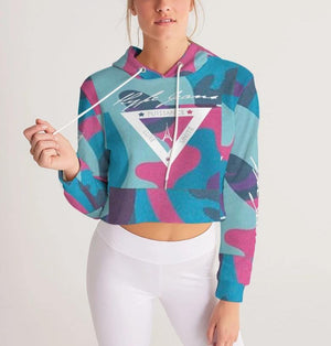 Hype Jeans Fade camo blue/ pink Women's Cropped Hoodie