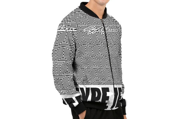 Hype Jeans Black / White Mosaic Men's Bomber Jacket - HypeJeans