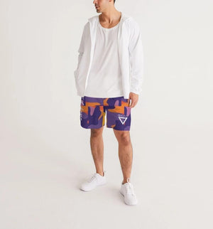 Hype Jeans Fade Camo Purple / Yellow Men's Jogger Shorts - Hype Jeans Company - Hype Jeans