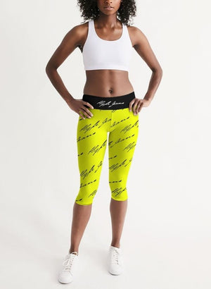 Hype Jeans  Women's Mid-Rise Capri (Imposs yellow /Black) - Hype Jeans Company - Hype Jeans