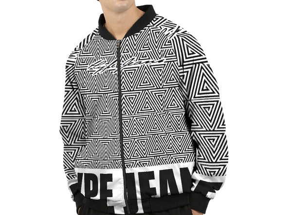 Hype Jeans Black / White Mosaic Men's Bomber Jacket
