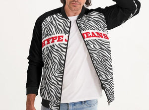 HYPE JEANS COMPANY TIGER PRINT MEN'S BOMBER JACKET (BLACK/ WHITE)