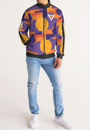 Hype Jeans Fade Camo Purple/ Yellow Men's Stripe-Sleeve Track Jacket - Hype Jeans Company - Hype Jeans