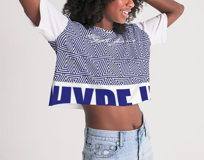 Hype Jeans Mosaic Navy Blue / white Women's Lounge Cropped Tee