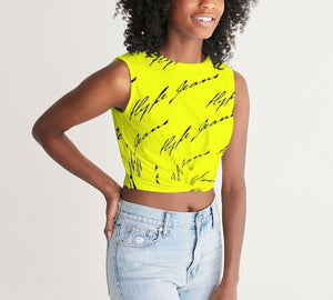 Hype Jeans  (Imposs yellow /Black) Women's Twist-Front Tank - Hype Jeans Company - Hype Jeans