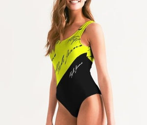 Hype Jeans Company Women's One-Piece Swimsuit (Imposs yellow /Black)