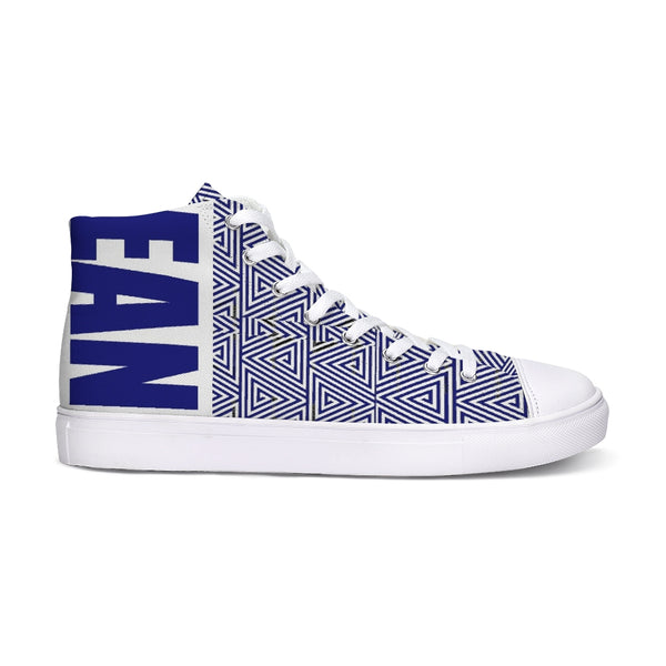 Hype Jeans Mosaic Sneaker 2 Navy Blue / white Hightop Canvas Shoe - HypeJeans