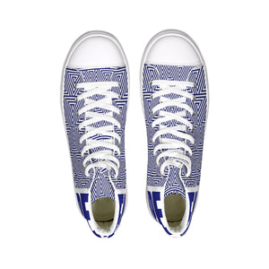 Hype Jeans Mosaic Sneaker 2 Navy Blue / white Hightop Canvas Shoe - Hype Jeans Company - Hype Jeans