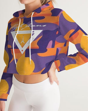 Hype Jeans fade camo Purple / yellow  Women's Cropped Hoodie
