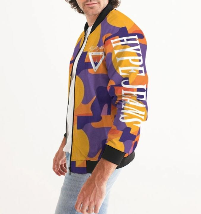 Hype Jeans Fade Camo Purple / Yellow Men's Bomber Jacket - Hype Jeans Company - Hype Jeans