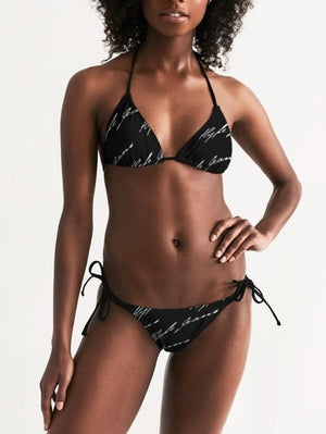 Hype Jeans Company Women's Triangle String Bikini (Black/white)
