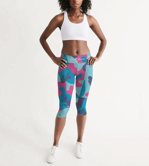Hype Jeans Fade camo blue/ pink Women's Mid-Rise Capri - Hype Jeans Company - Hype Jeans