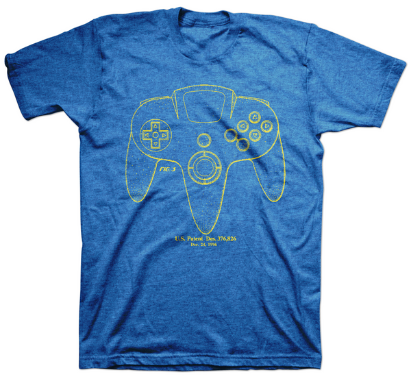 Patent D376,826 N64 Controller Tee
