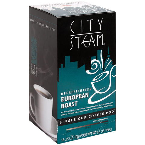 City Steam European Roast Decaffeinated Coffee Pods 18 ct