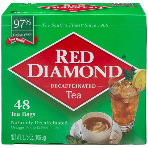 Red Diamond Decaffeinated Tea Bags Single Serving Size 48 ct