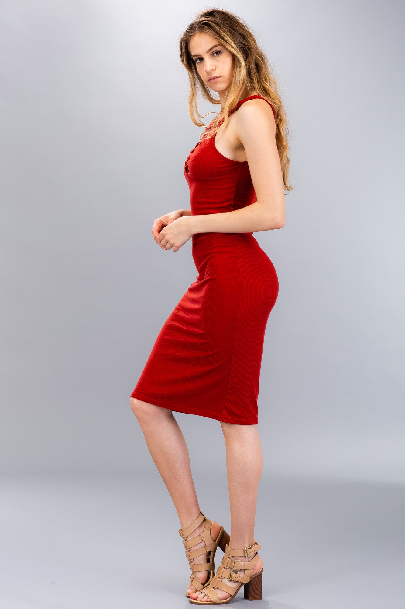 Ribbed Lace-Up Midi Dress - BD2204 - Capella Apparel