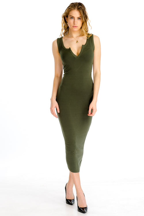 Split Neck Tank Dress - BD2173 - Capella Apparel