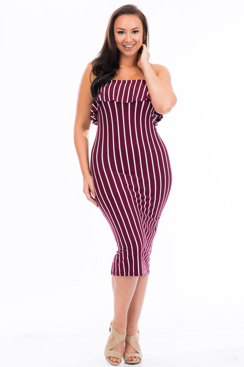 Ruffle Tube Dress - BD2060X (Plus Size) - Capella Apparel