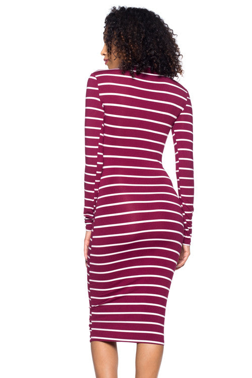 Stripe Mock Neck Dress - BD1972 - Capella Apparel