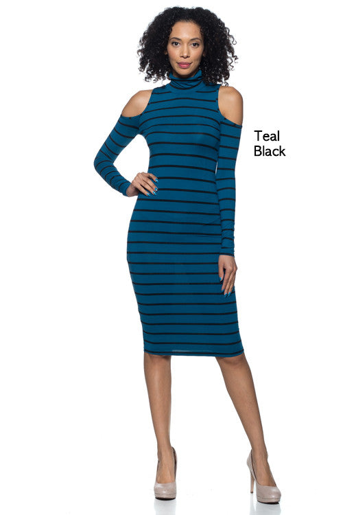 Stripe Open Shoulder Dress - BD1965 - Capella Apparel