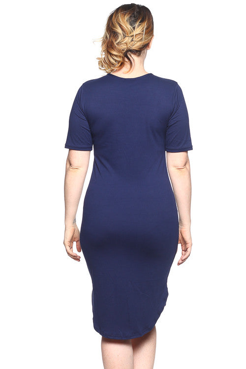 Curved Hem Dress - BD1939X (Plus Size) - Capella Apparel