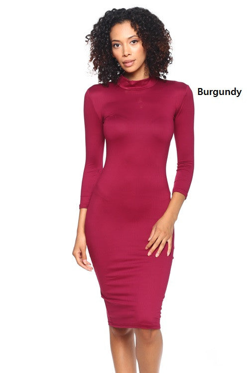 3/4 Mock Neck Dress - BD1856 - Capella Apparel