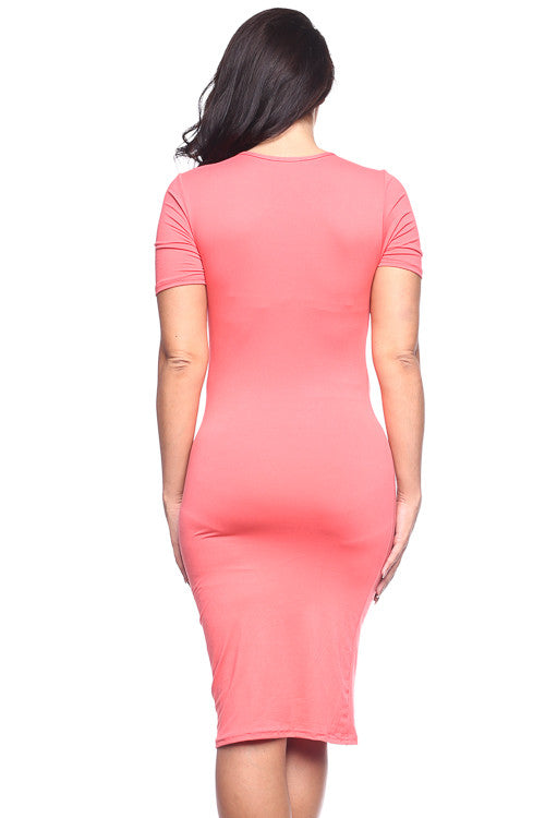 Bodycon Midi Dress - BD1809X (Plus Size) - Capella Apparel
